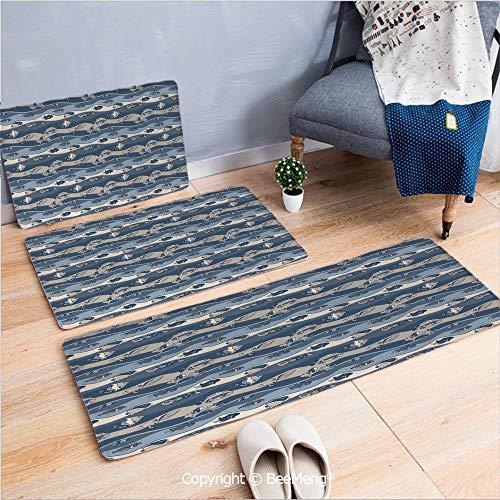 3 Piece Anti-skid mat for bathroom Rug Dining Room Home Bedroom,Fish,Asian Inspired Geometric Aquarium Animal Geometric Pattern Cartoon Style Decorative,Slate and Cadet Blue Tan,16x24/18x53/20x59 inch