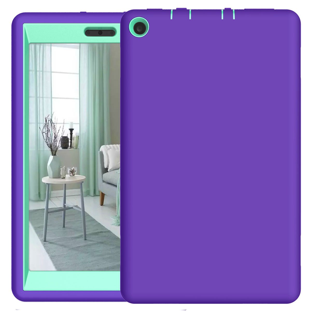 All-New F ire HD 8 2017 Case, 3in1 SOGOLA Heavy Duty Shock-Absorption/High Impact Resistant Armor Defender Case with Bracket For F ire HD 8 Tablet (Purple+Mint)