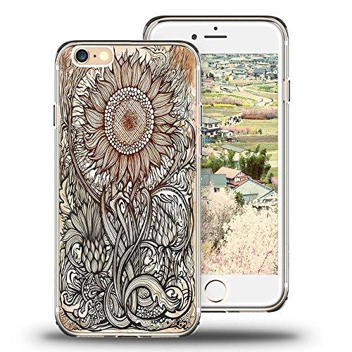 Sunflower Protective Case (Iphone 6 (4.7) Case Viwell, 2015 Unique Design Personalized Cool Protective Cover Retro sunflower design)