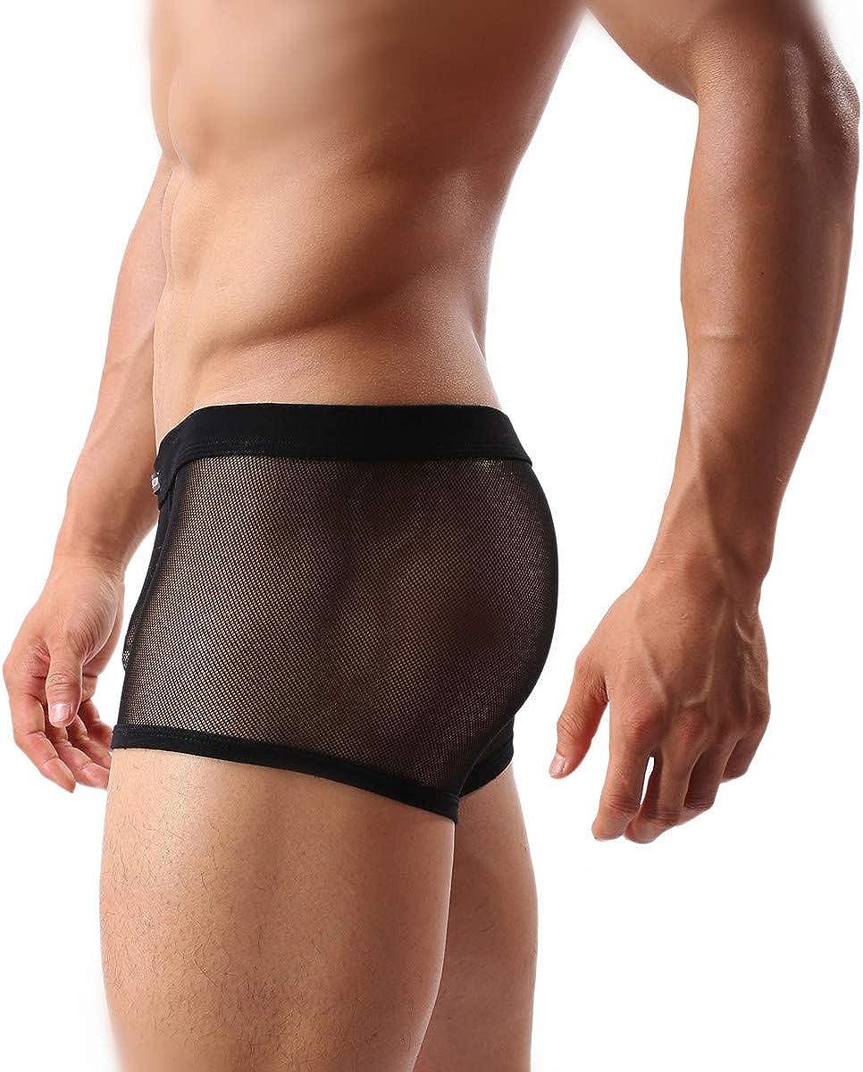 Men's Underwear Sexy Mesh Breathable Boxer Briefs Low Rise Cool ...