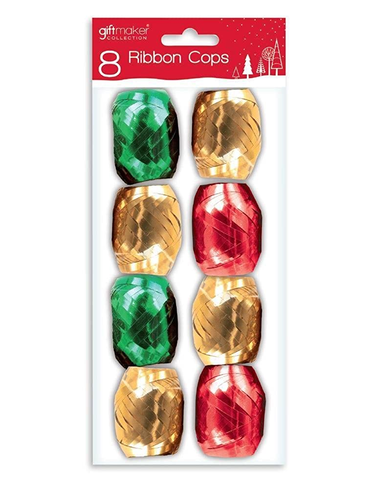8 PACK METALLIC RIBBON COPS RED GOLD GREEN CHRISTMAS PRESENT GIFT WRAPPING