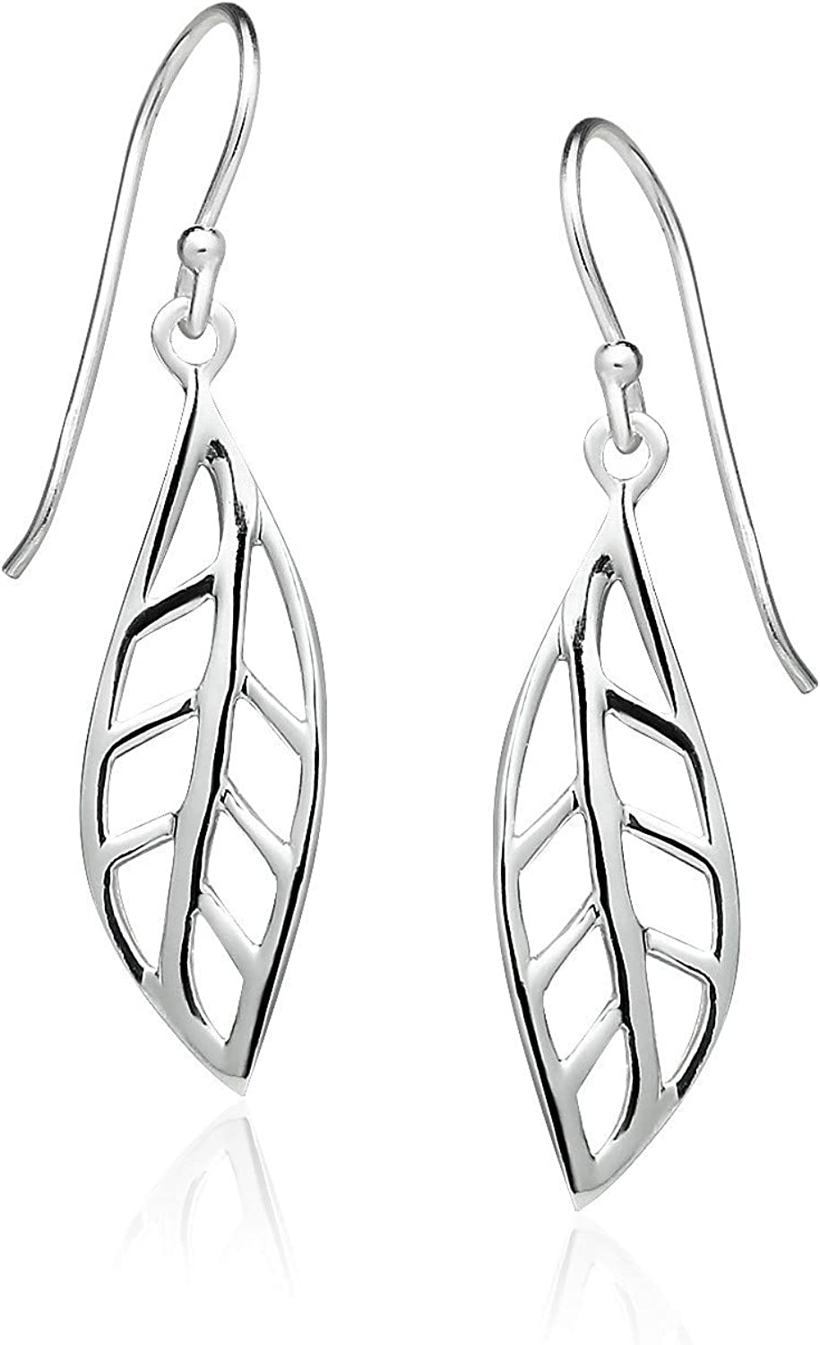 Sterling Silver Dangle Earrings Lightweight Highly Polished Modern Flower Earrings with French Wire