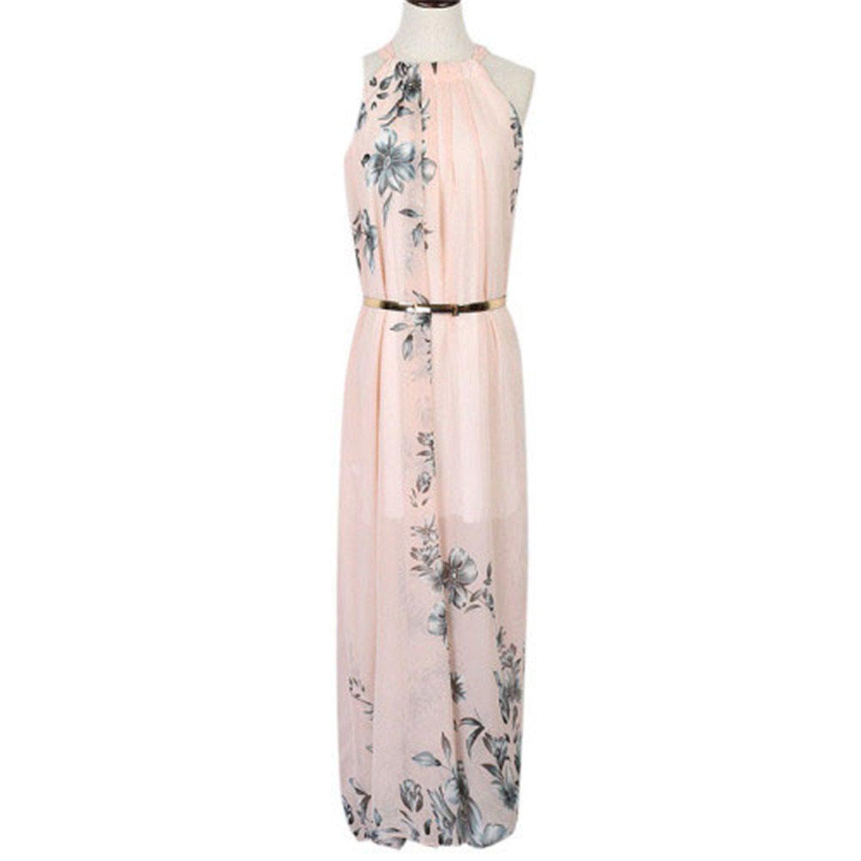 Amazon.com: Eloise Isabel Fashion chiffon halter decote rosa estampado floral tie cintura maxi praia vestidos plus size s-xl vestidos: Clothing