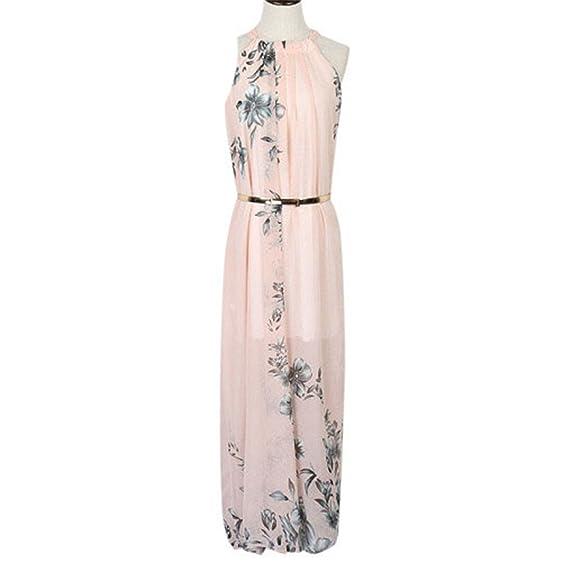 Eloise Isabel Fashion chiffon halter decote rosa estampado floral tie cintura maxi praia vestidos plus size
