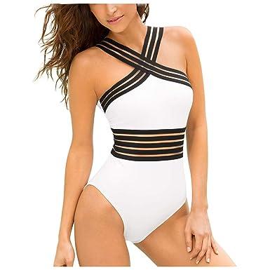 Bañadores de Mujer Traje de una Pieza Retro Traje de Baño Mujer Ropa de Playa Sexy Perspectiva Push up Bikini Tankinis Mujer Beachwear Bañador Mujer ...