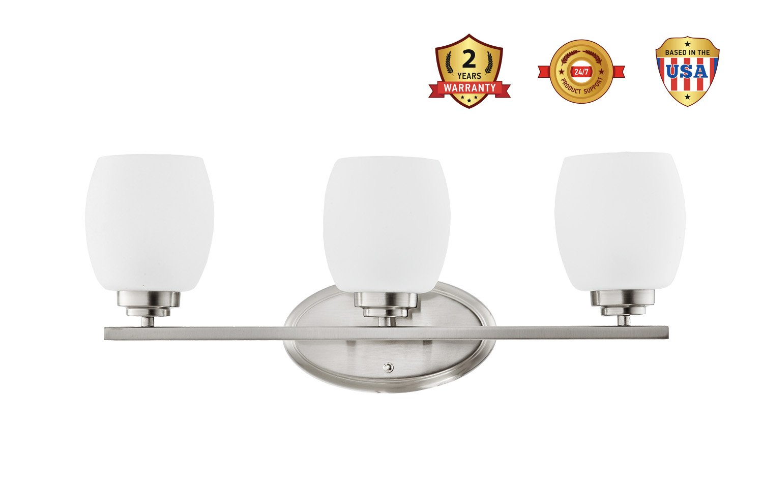 Interior Bathroom Vanity Wall Lighting Fixture VF38 Brushed Nickel Finish with Etched Glass Shade 3x60 Watt E26 Socket IN HOME 3-Light Bath Bar Light Up or Down UL Listed