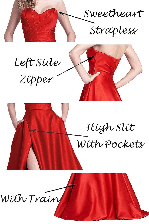 jicjichos Women s Sweetheart Strapless Evening Dresses Satin High Slit with Pocket  Long Prom Dress J212 at Amazon Women s Clothing store  475ca19bf