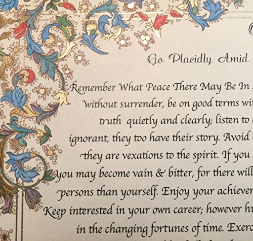 Desiderata Gallery Medici Style - DESIDERATA Quote by Max Ehrman on Handmade Florentine Paper with 24k gold leaf (Imported from ()