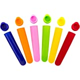 NuEmporia Ice Pop Molds – BPA-Free Silicone – With Ergonomic Lids – 6 Classic Colors – Durable & Lasting – Easy To Use – No Popsicle Sticks Required