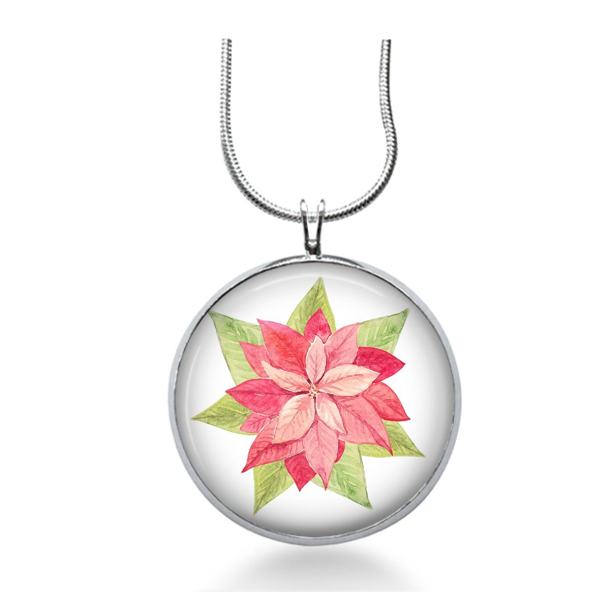 Christmas Poinsettia necklace - Holiday Jewelry,