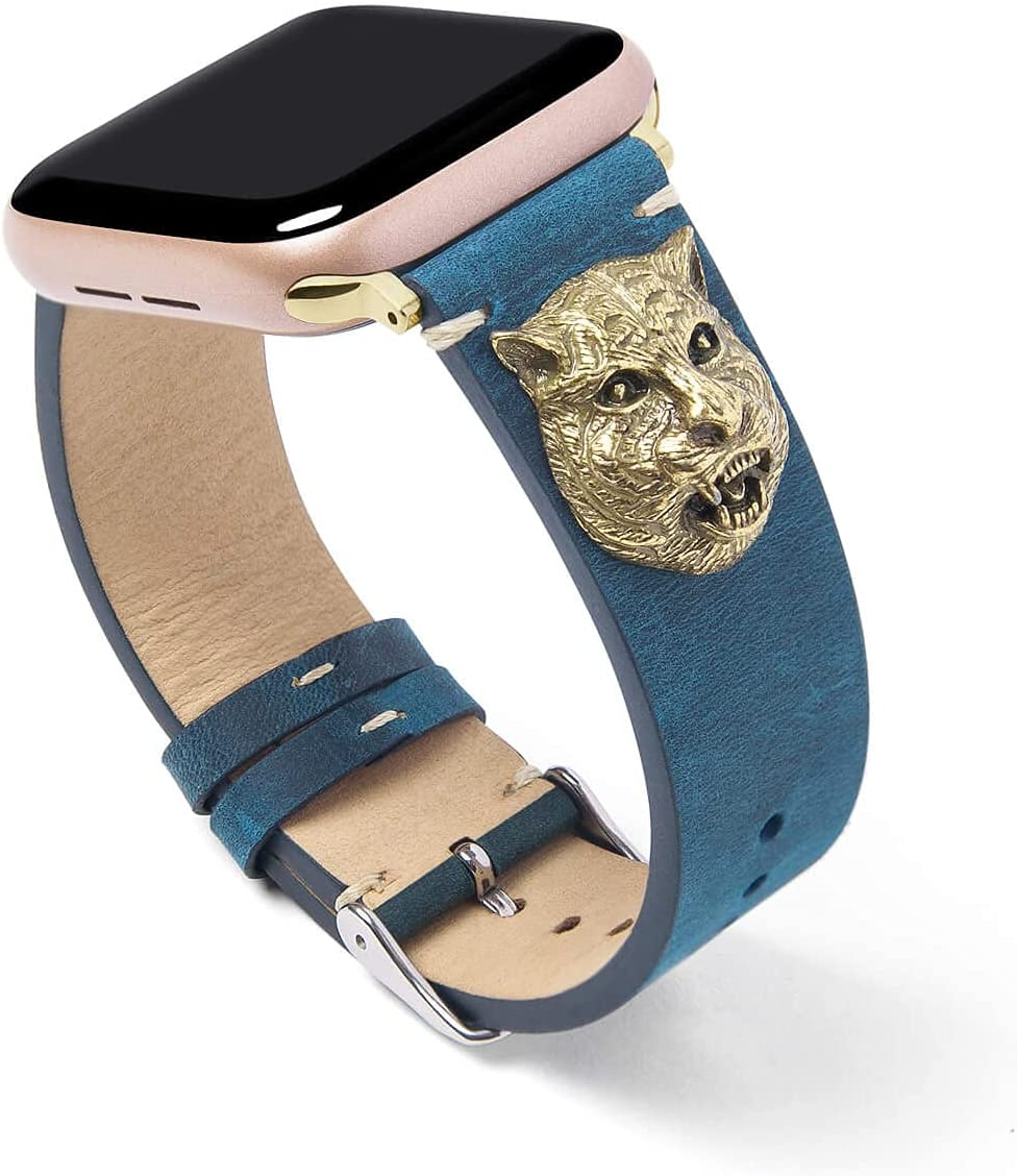 FTWIND Compatible With Apple Watch Band Cute Retro Discoloration Leather Lucky Leopard Avatar Amulet Accompany Soft Series 6 5 4 3 2 1 SE Size 44/42/40/38mm Men Women Boy Girl Navy Blue (Blue-Leopard, 38)