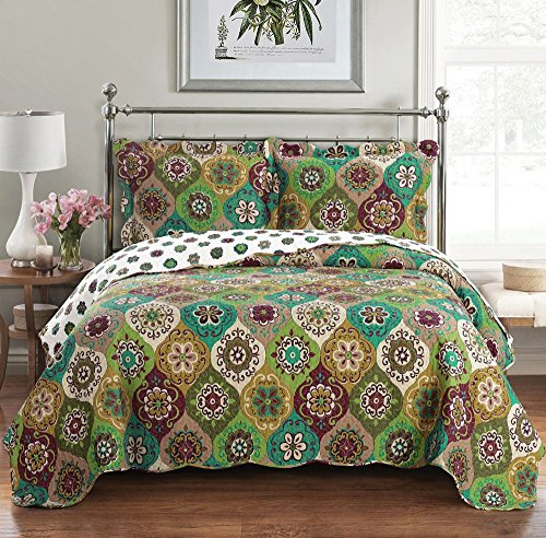 Bonnie OverSize Coverlet 3 PC King Size Set Luxury Microfiber Printed Quilt