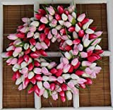 Pink And White Tulip Front Door Wreath 19 Inch - Stunning Silk Front Door Wreath For Spring And Summer Wreath Display, Extremely Full Design, Beautiful White Gift Box Included