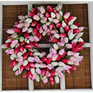 Pink And White Tulip Front Door Wreath 19 Inch - Stunning Silk Wreath For Valentines Day And Spring Display - Beautiful White Gift Box Included