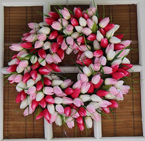 Pink And White Tulip Front Door Wreath 19 Inch - Stunning Silk Front Door Wreath For Spring And Summer Wreath Display, Extremely Full Design, Beautiful White Gift Box Included by The Wreath Depot