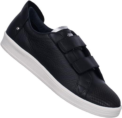 al exilio Obligar Mojado  adidas SLVR Mens Leather Cupsole Velcro Trainers - Black - 8UK:  Amazon.co.uk: Shoes & Bags
