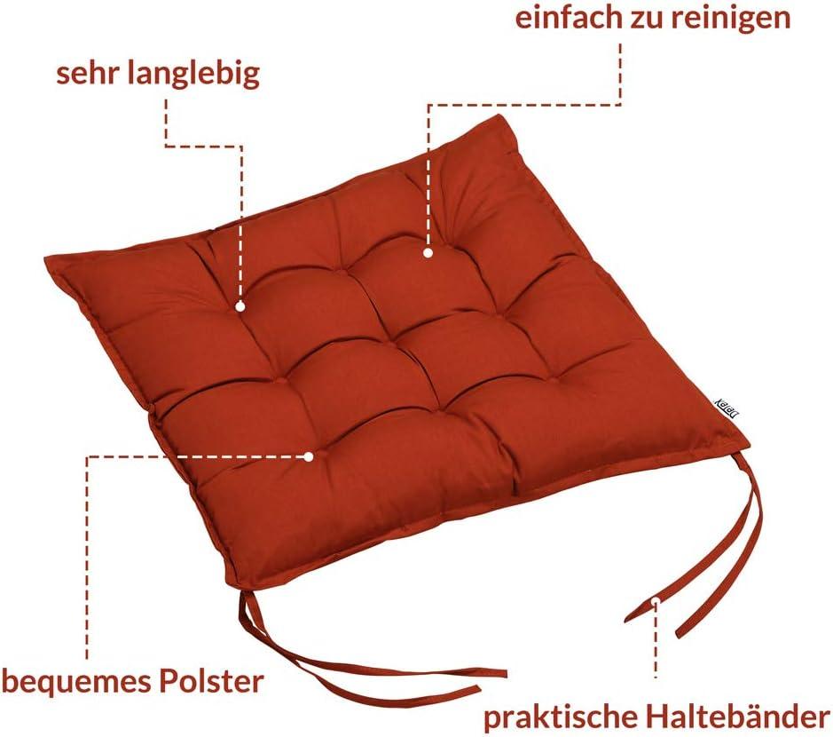 Detex Cuscini per Sedia x4 Effetto visco Cordoncini Interno Esterno sedie Giardino Cucina Cuscino coprisedia Terracotta