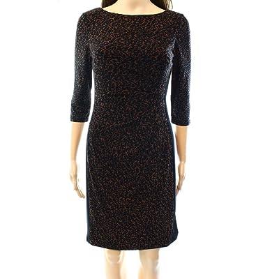 Lauren Ralph Lauren Womens Petites Ruched Printed Wear to Work Dress Brown 14P