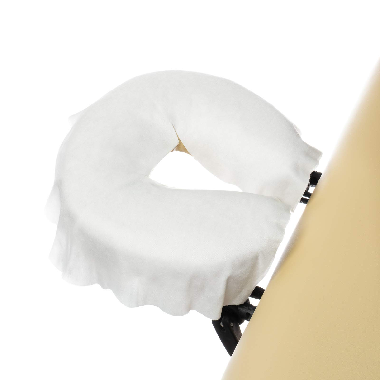 Saloniture 100 Disposable Fitted Massage Table Face Cradle Covers - Single Use Facial Bed Salon Spa Headrest Pillow Sheets