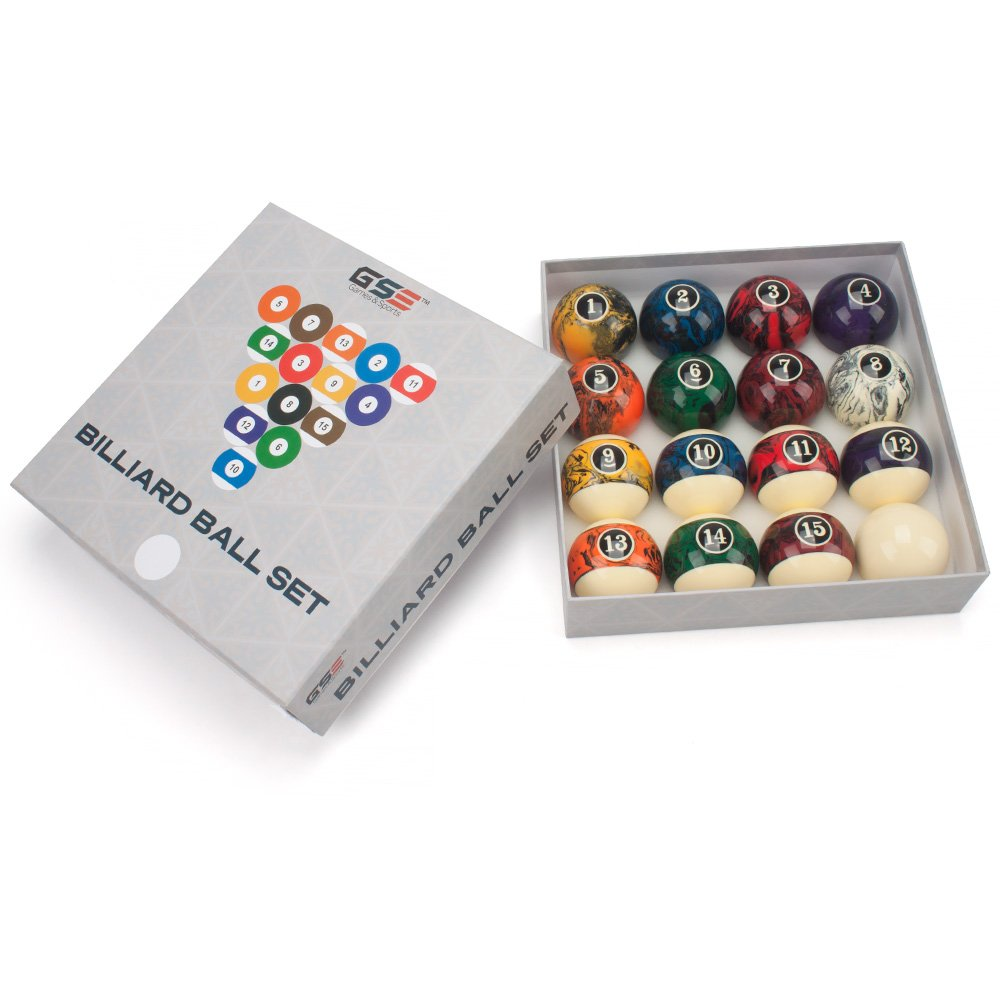 Art Number//Marble Swirl Style GSE Games /& Sports Expert 2 1//4-Inch Billiard Table Pool Ball Set