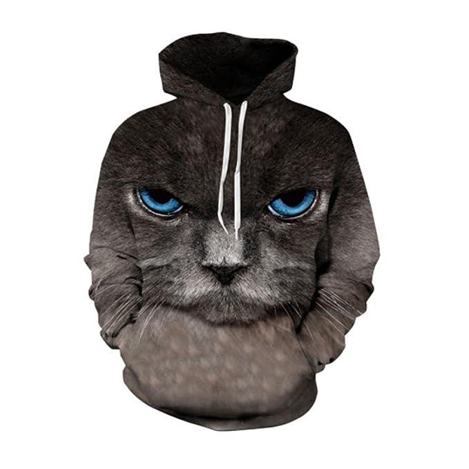 HUKCTE Sudaderas Personalizadas Gato Negro Neutro suéter patrón Animal Animales de Gran tamaño de impresión Digital Encapuchados, : Amazon.es: Ropa y ...