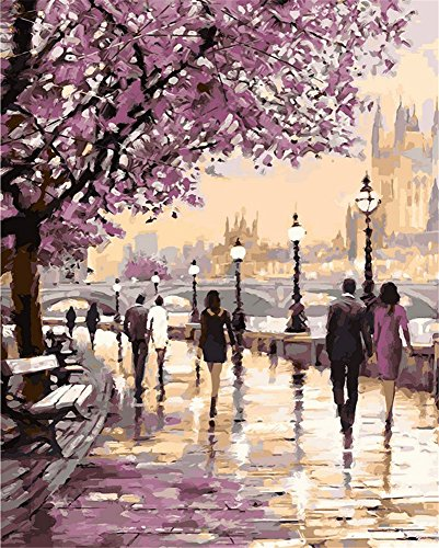 Promenade Oil Painting - DIY Oil Painting kit, Paint by Numbers kit for Kids and Adults - Promenade 16x20 inches (Without Frame)