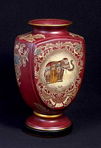AA Importing Porcelain Vase in Red Finish w Elephant Design Gold Tone Trim