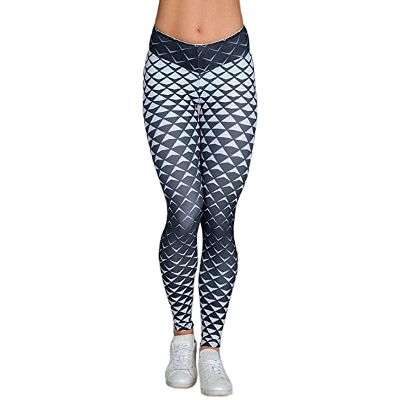 Pantalones Deportivos Mujer Fitness,❤ Absolute Impresión de Diamante 3D Las Mujeres de Cintura Alta Yoga Fitness Leggings Corriendo Gym Stretch Sports ...
