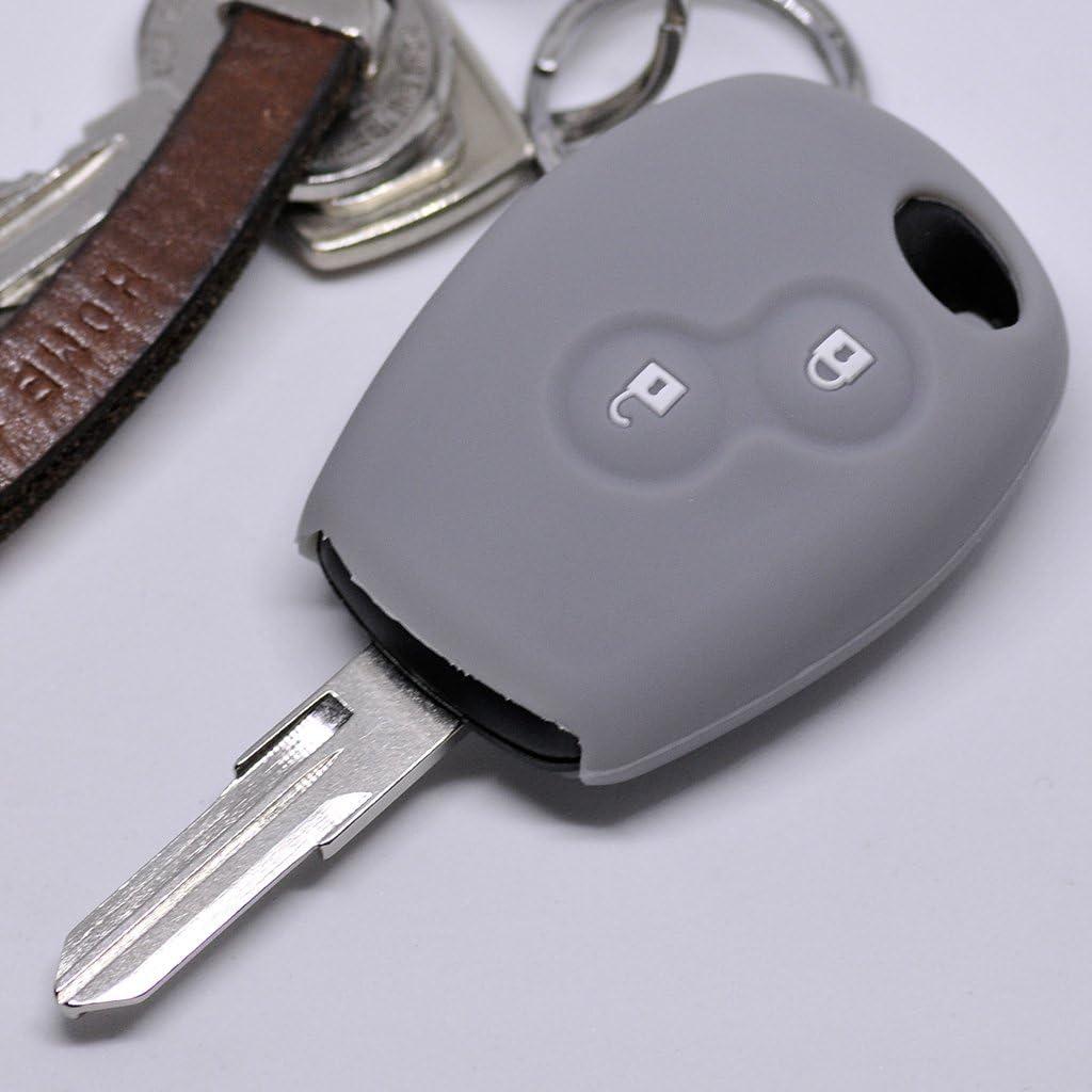 Silikon Soft Case Schutz Hülle Auto Schlüssel 2 Tasten Grau Kompatibel Mit Dacia Dokker Sandero Duster