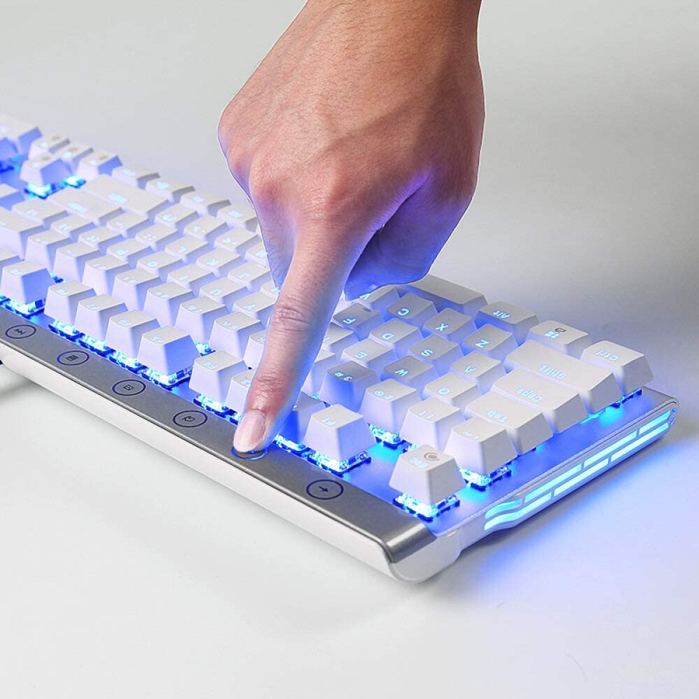 Color : Silver Keyboard Computer Accessories Wired Mixed Light Can Be Inserted Into The Green Axis XIAONINGMENG Large Cool Metal Keyboard