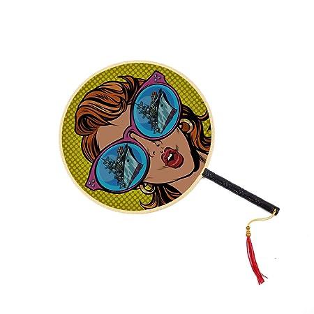 WYYWCY Una Mujer con Gafas de Sol Abanico Chino Antiguo ...