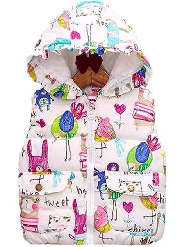 ナナコレクションNana_Collection秋キッズ子供キュート柄フリルフードポケット中綿ダウンベストホワイト140cm