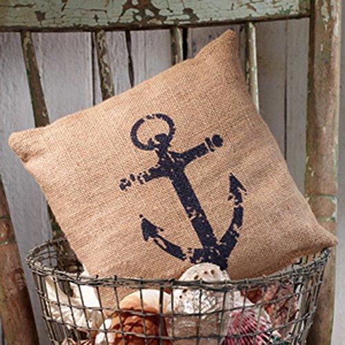 Nantucket Nautical Throw (Nautical Ship's Anchor - Burlap Accent Pillow - 8-in x 8-in)