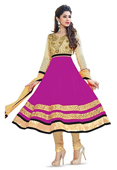f6389882be Mirchi Fashion Pink Party Wear Embroidery Indian Salwar Kameez Dress  Material: Amazon.co.uk: Clothing