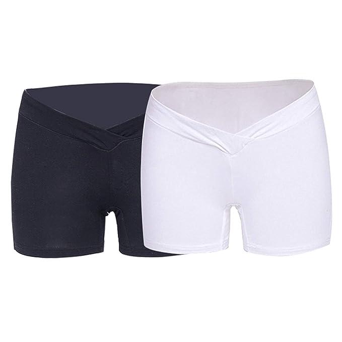 Kbwin Leggings de Mujer Embarazada - Ropa Interior de Maternidad de Tela elástica Suave Pantalones Cortos
