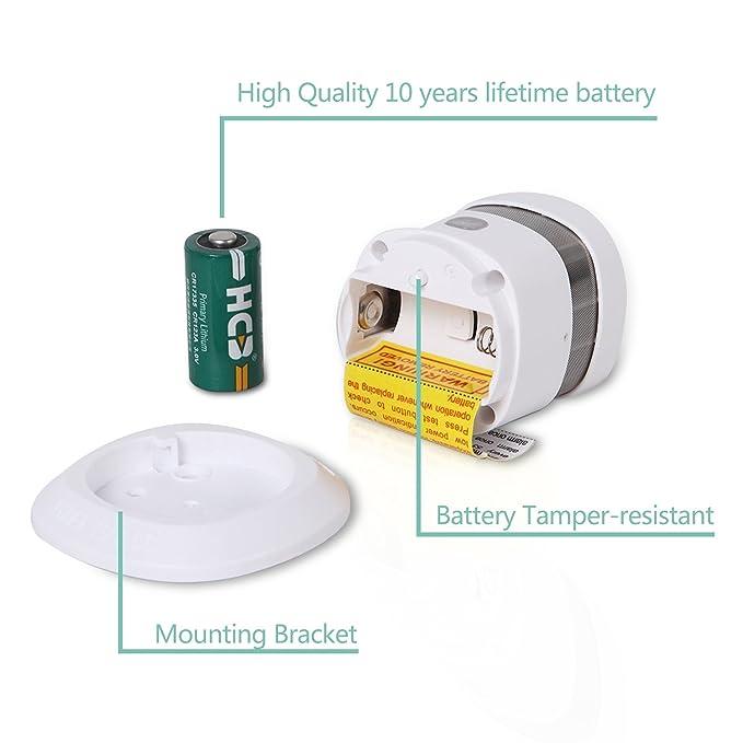 heiman Mini Detector de humo klebepads Red 10 años batería de litio para Home Safe, Humo y alarma de fuego Con Prueba De Button hs1sa: Amazon.es: Bricolaje ...