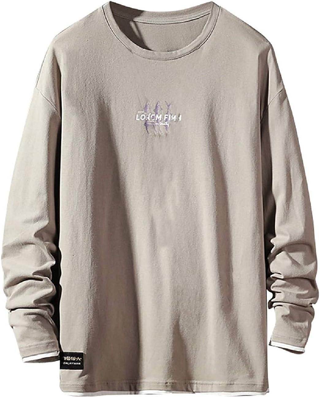 Camiseta De Los Hombres Camisa De Los Hombres OtoñO Camisa De Manga Larga para Hombre Carta De La Moda Informal Camiseta Impresa Tops TamañO Extra Grande Camiseta CóModa Sudadera Blusa Resplend: Amazon.es: