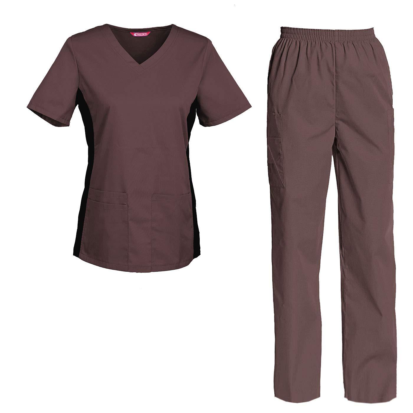 TAILORS Divisa Ospedaliera sanforizzato Pantaloni Casacca Scollo a V Sanitaria Medicale per Medico Infermiere OSS Estetista