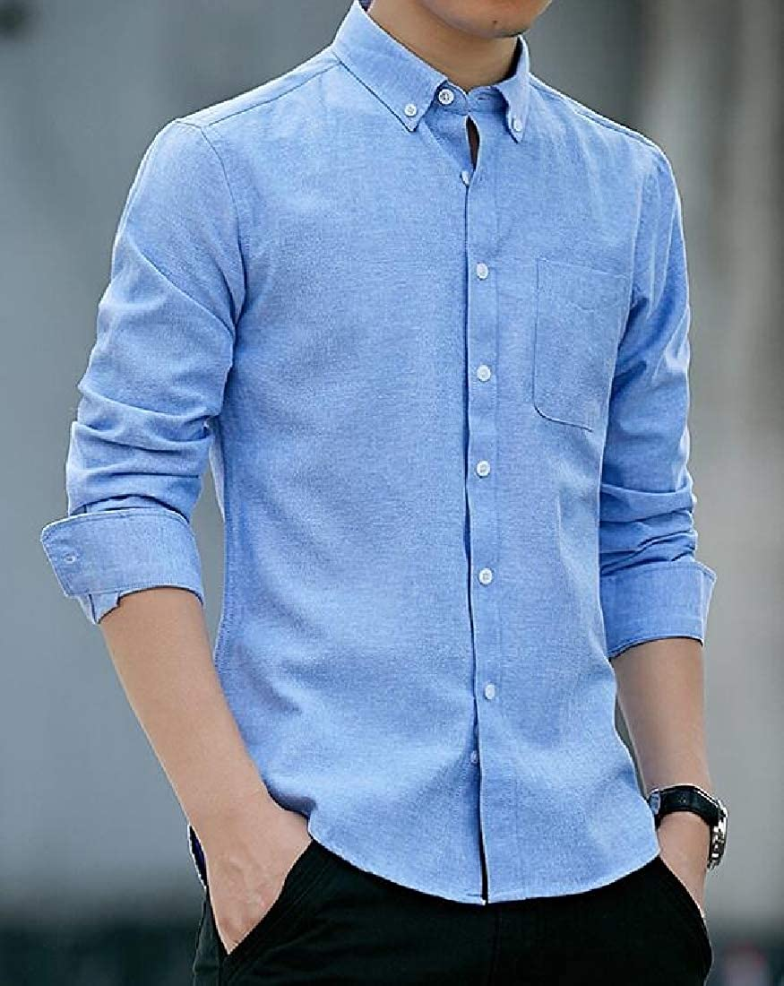 Miracle Men Regular Fit Vintage Dress Shirt-Cotton Casual Long Sleeve Shirt