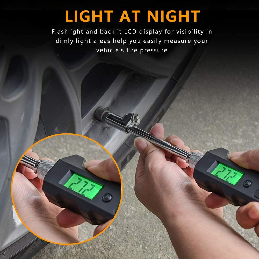 Color You Digital Tire Pressure Gauge ABS Four Units 150 PSI High Accuracy Automatic Shut Off LCD Backlight Digital Display Pressure Measuring Valve with LED Light for RV Car Truck Motorcycle