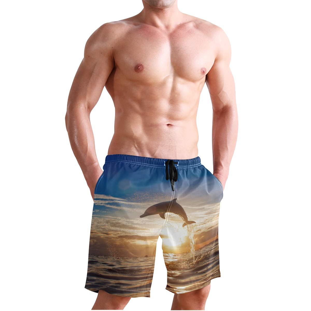 KUWT Mens Swim Trunks Ocean Animal Jumping Dolphin Quick Dry Beach Shorts Summer Surf Board Shorts