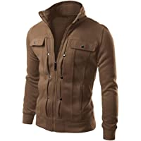 Fall Fashion Slimming Style Varsity Jacket Pocket Stand Collar Mental Button Male Overcoat Hombres