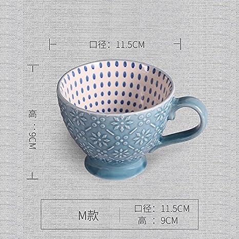 MH-RITA Taza De Cerámica Personalizada Retro Socorro Taza Desayuno Avena Cup Pintados A Mano Gran Taza De Café Creativos Amantes Taza Taza De Leche O: ...