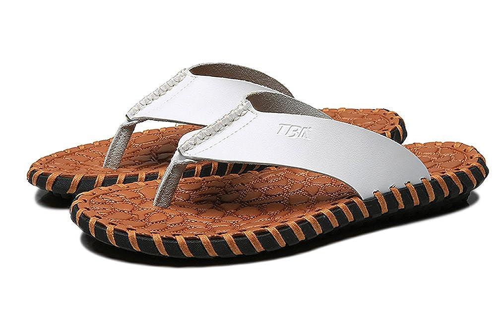 UB-TBA Mens Flip Flops Genuine Leather Slippers Slippers Leather Handmade Beach Sandals Shoes Men 8 D(M) US|Deep Brown B07DLL2NPH 1f8220