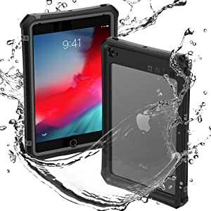 iPad Mini 4/5 Waterproof Case, ShellBox Protection Case with Built-in Screen Protector Kickstand Shoulder Strap for iPad Mini5/iPad Mini4 7.9 (Black)