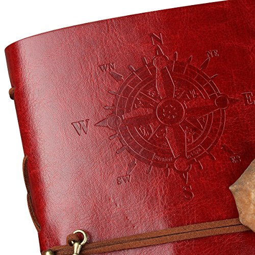 CYOS PU Leather Vintage Journal Diary Best Retro Soft Spiral Bound Leather Cover Notebook Travel Diary Loose Leaf Journal Blank 6 Ring Binder Planner (Red) by CYOS (Image #4)