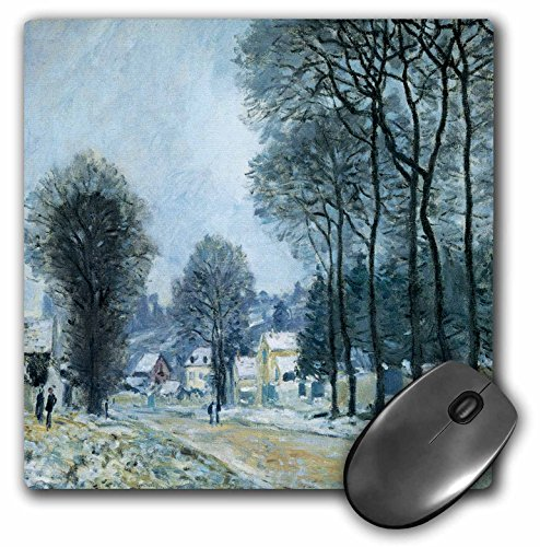 3dRose LLC 8 X 8 X 0.25 Inches Mouse Pad Snow At Louveciennes, 1874 by Alfred Sisley Impressionist Landscape (Mp_175464_1) - Alfred Sisley Painting
