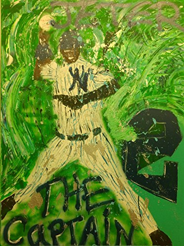 """""""The Captain Derek Jeter"""" Large abstract New York Yankees Graffiti 30"""" x 40"""" Original Art on Stretched Canvas"""