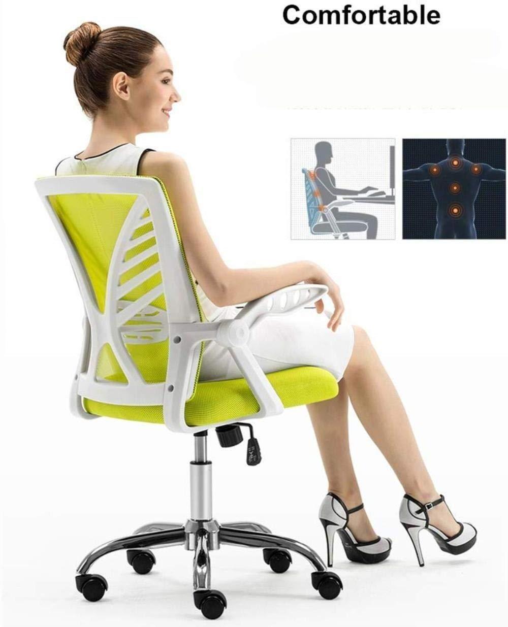 Barstolar THBEIBEI Kontor Cahir spelstol datorstol uppgift skrivbordsstol mellanrygg nätstol hem studierum stol roterande räcke vikt 150 kg (färg: Orange) gRÖN