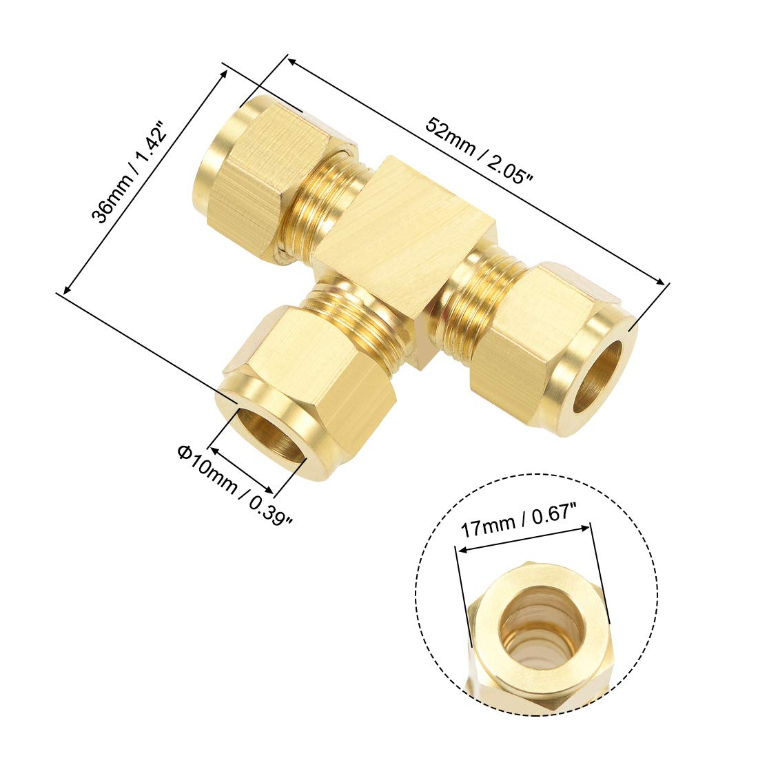 uxcell Pipe Adapter Copper Compression Tube Fitting 10mm OD Tee Pipes for Water Garden Irrigation System 2pcs